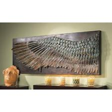 HAND SCULPTED HAMMERED 3 FT WIDE BRONZE FINISH WING WALL SCULPTURE NEW