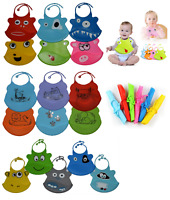 Silicone Bibs Feeding Baby Crumb Catcher Wipeable,Waterproof Pocket Bibs Toddler