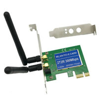 2 Antenna PCI-E 300Mbps 300M 802.11b/g/n Wireless WiFi Card Adapter for Desktop