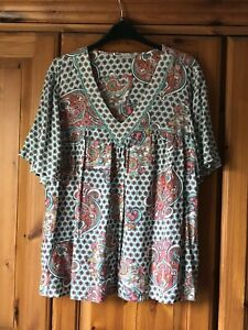 Marks And Spencer Green Patterned Top Size 16