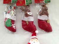 3 Christmas teddy nativity visitors & 2 kangaroo, 1 koala in stocking with bell