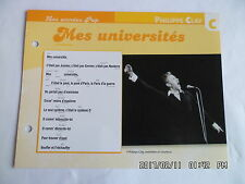 CARTE FICHE PLAISIR DE CHANTER PHILIPPE CLAY MES UNIVERSITES