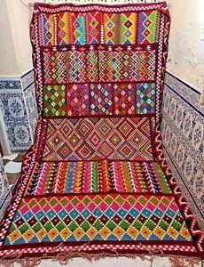 "Vintage Moroccan Rug Azilal Handmade Old Kilim Carpet Wool Tribal 12'1"" x 7'3"""