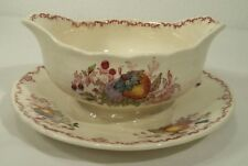 Antique Gravy Boat Attached Underplate Mason's FRUIT BASKET Red Ironstone China
