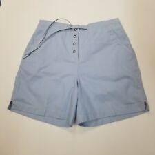 J. Jill 8 Shorts Blue Snap Button Tie Waist Pockets Cotton Partial Elastic Waist