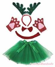 Xmas Green Ring Reindeer Headband Bow Tail Paw Skirt 5p Kid School Party Costume