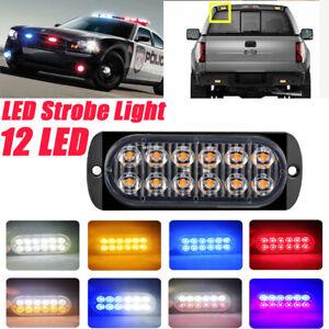 12 LED Waterproof Car Strobe Flash Light Emergency Warning Flashing Lamp 12V/24V