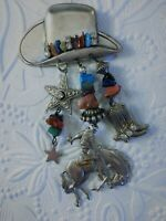 Vintage Cowboy Hat Brooch Pin Dangle Charms Rodeo Horse Rider Boot Star