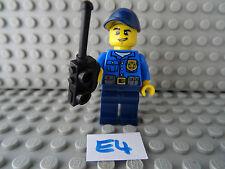 LEGO Minifigura NERO GAMBE BLU CAPPELLO BLU sul torso con un Walkie Talkie (e4)