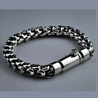 """Real 925 Sterling Silver Bracelet Link Chain Dragon Scale Thick Mens 7.5"""" - 8.7"""""""
