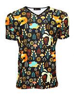Designer Men's Fox, Rabbit And Hedgehog Animal Nature Print T-Shirt Top Tee