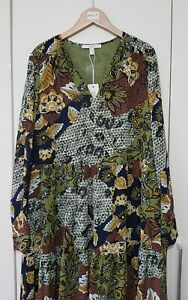 Esprit Women's Dress Size UK 8 Green Leaf Print, Long Lightweight, New with tags