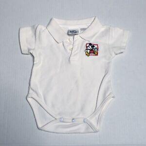The Disney Store Mickey Mouse Vtg Baby One Piece Bodysuit White Polo Snap