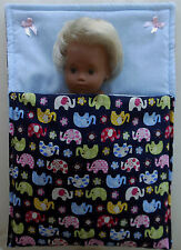 "Blue Elephants Sleeping bag fit 12"" Sasha baby pram cot bedding Lesley Shaw NEW"