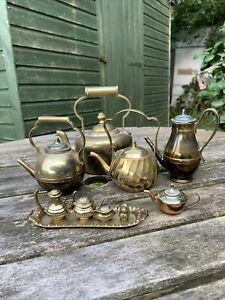 Collection of Vintage Small Brass Kettles