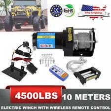 4500Lb Winch Atv Utv 12V Electric Remote Waterproof Boat Steel Cable Kit Offroad