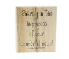 Stampin Up Congrats Happy News Sentiments Words Writing Wooden Rubber Stamp