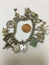 English Vintage Sterling Silver CHARM BRACELET with 15 Good CHARMS B/Ham 1976