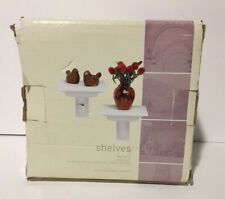 """Target Classic Home 6"""" Wide Wall Shelves White Finish Wall Mounted Shelving Pair"""