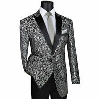 VINCI Men's Silver Paisley 2 Button Regular Fit Formal Tuxedo Jacket NEW