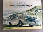 Vintage Morris Oxford Traveller 12-sided fold-out colour sales brochure Aug 1957