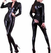 Sexy Ladies Faux Leather Black Wet Look PVC Jumpsuit Cat Women Catsuit Outfit