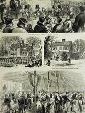 Lexington Massachusetts CENTENNIAL  Buckman Tavern CLARK HOUSE 1875 Print Matted