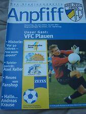 FC CARL ZEISS JENA Anpfiff Nr. 12 4.3.2000 VFC Plauen Stadion-Magazin Zeitung
