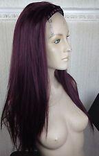 dark cherry red straight 3/4 half head long hair wig headband fancy dress new