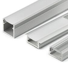 Aluprofil für LED AUFPUTZ FLACH 2m Lang Schiene Profile Montageklammern TOP!