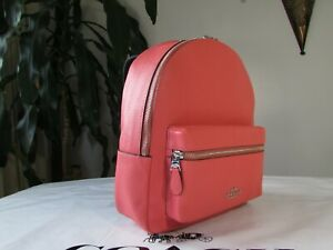 NWT Coach Pebbled Leather Medium Charlie Backpack F30550 Coral