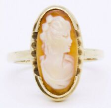 Shell Right Facing Cameo Ring Size 6 10K Solid Yellow Gold Long Oval Carved