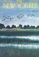 1962 New Yorker Magazine COVER ONLY Ilonka Karasz Art Cars @ Lake, Geese South