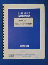 UNIVERSAL AUDIO 562 FEEDBACK SUPPRESSOR OPERATING MANUAL W/ SCHEMATIC ORIGINAL