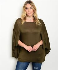 WOMEN'S PLUS SIZE SEXY OLIVE GREEN CAPE SLEEVE JERSEY KNIT TOP 3XL NEW