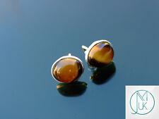 Tiger Eye Natural Gemstone 925 Sterling Silver Earrings Crystal Healing Stone