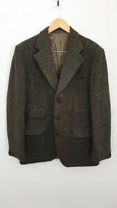 "Vintage Dunn & Co Harris Tweed Size XL Chest 44"" Green Check Blazer Jacket"