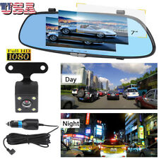 7'' HD 1080P Dual Lens Vehicle Rearview Mirror Camera Recorder Car DVR Dash Cam