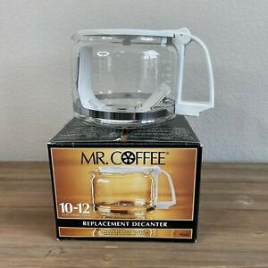 Mr Coffee PD12 Replacement Decanter 10-12 Cup Carafe Clear Glass White Brand New