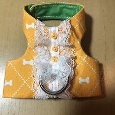 Handmade Dog Harnesses Vest Yellow Bones Lace (1448) XXXS