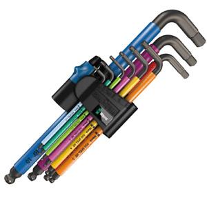 WERA Hex-Plus 9 Pce Multi Colour Ball-End Hex Allen Key Set Hold Function 022210