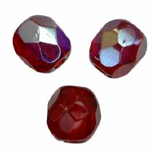 50 Perles Facettes cristal boheme 4mm - RUBIS RUBY AB