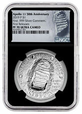 2019 P Apollo 11 50th Commem Silver Dollar Ngc Pf70 Fr Black Sku57108