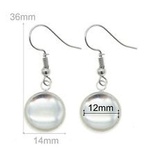 Handicraft Silver Metal Earring Clear Glass Dome Cameo Drop Dangle Hook Earrings