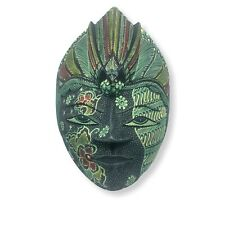 Batic Peacock Face Indonesia Wooden Javanese Mask Hand Painted Carved Folk Art