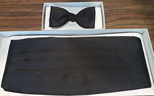 Echt gebundene Fliege und Kummerbund für Smoking schwarz, Größe S-M (80-100 cm)