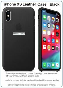 OEM Genuine LEATHER Case for Apple iPhone Xs - Black (MRWM2ZM/A)