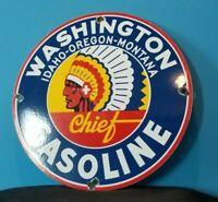 VINTAGE WASHINGTON GASOLINE PORCELAIN SERVICE STATION PUMP PLATE AD SIGN