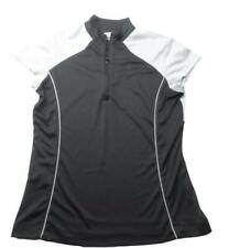 Callaway Zip Front Performance Golf Shirt Fitted Black Gray Polo Size Medium M
