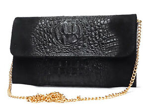 Made in Italy Clutch Genuine Leather Croc-Print Black Cross Body  Chain